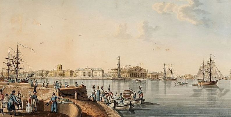 Vasilyevsky Island. View from the Palace Quay by B. Patersen. 1799
