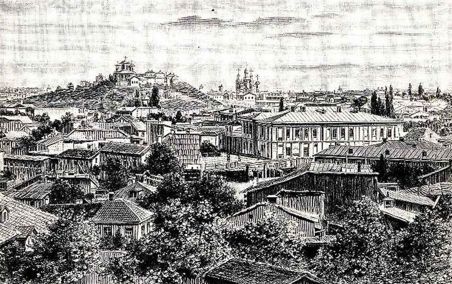 Vintage engraving of Bucharest