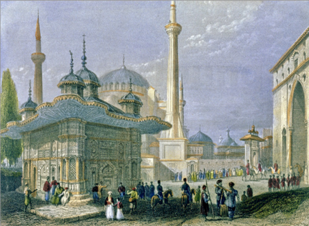 Fountain and Hagia Sophia in Instambul by U. Bartlet, 1839