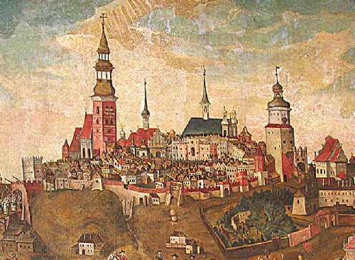 Lublin in the early 18th century. The cityscape by unknown artist in the Dominican Church