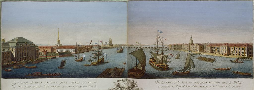 View of the Old Winter Palace and the Admiralty. Engraving from images by M. Makhaev. 1750s
