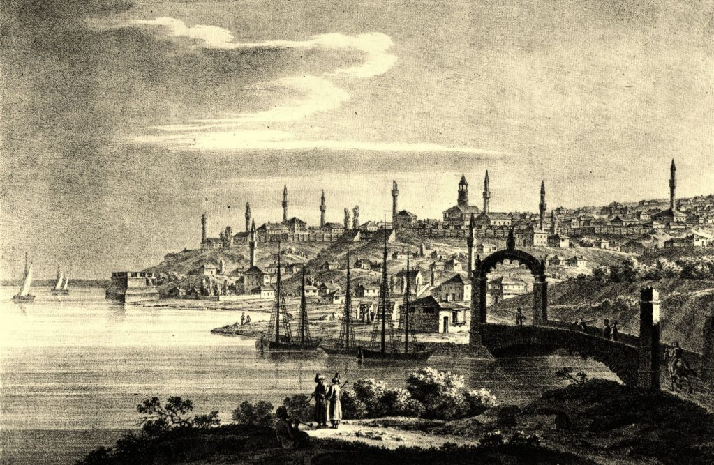 The Ruse cityscape with minarets. 1824