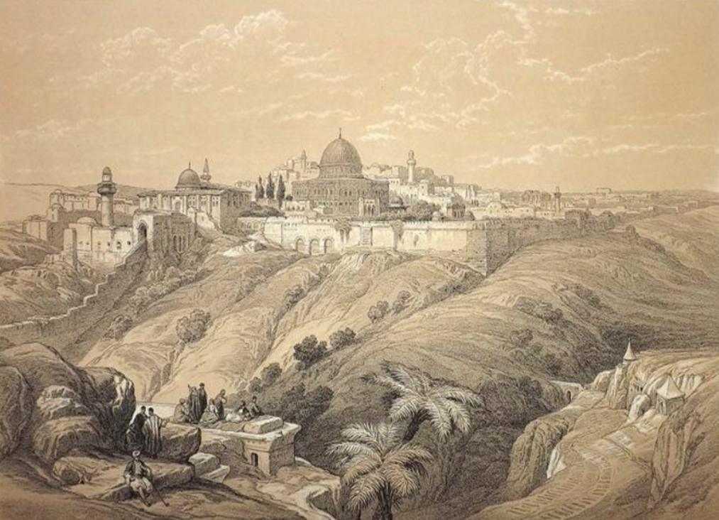 "Antique lithograph ""Holy Land"" by D. Roberts, L. Haghe, J. Crowley. 1855"