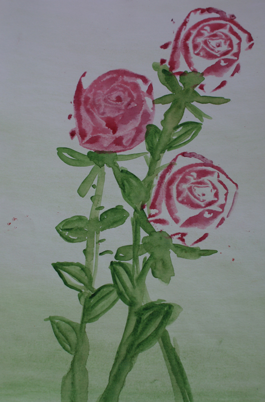 Favourite roses. Pressing technique. Materials: paper, colours, fabric stamp.