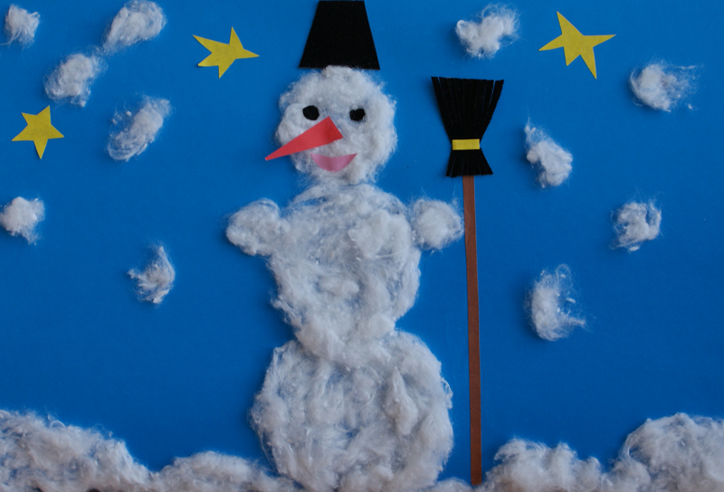 Jolly snowman. Materials: coloured paper, glue, cotton wool.